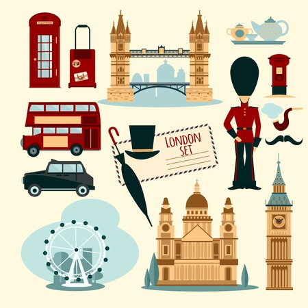telephone booth: London touristic set with flat telephone booth tower bridge and cab isolated vector illustration