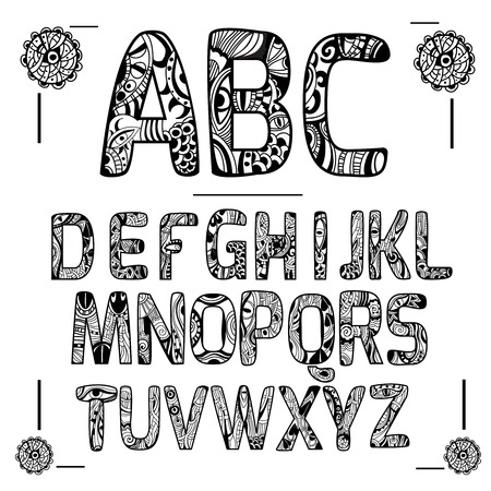 alphabet black capital letters with decorative ornament isolated vector illustration