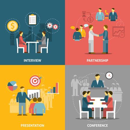 reuniones empresariales: iconos planos composición con personas que se reúnen para la ilustración vectorial de negocio y la asociación.