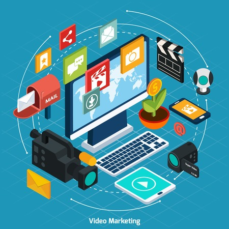 Video marketing isometric concept with 3d computer and digital icons set vector illustration