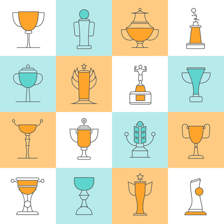 nomination: Awards line icons set with sport cups flat isolated vector illustration Illustration