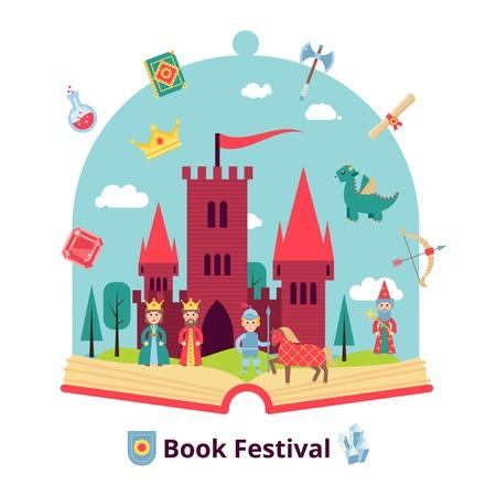castillo medieval: concepto de cuento con el libro abierto y la ilustración vectorial castillo medieval y personajes Vectores