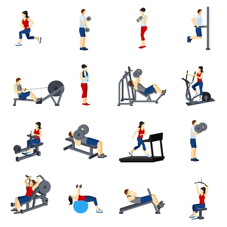 benchpress: Fitness icons set with  men and women training in gim vector illustration