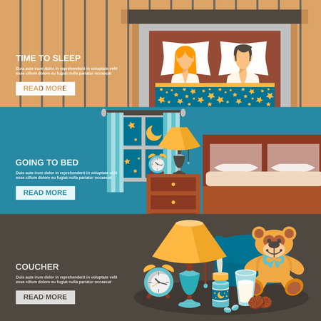 household objects: Sleep time horizontal banner set with bed and household objects elements isolated vector illustration