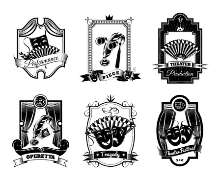 Theatre black white emblems set with tragedy and operetta symbols flat isolated vector illustration Illustration