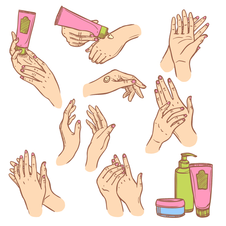 lotion: Daily hand cream application procedure steps pictograms set for women flat icons composition abstract isolated vector illustration