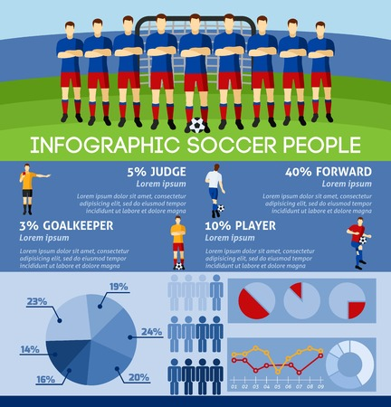 tactics: Infographic soccer with team players and gate background flat vector illustration.