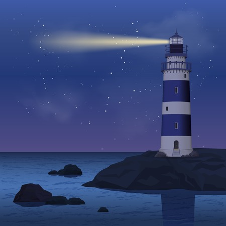 Realistic lighthouse on seashore rock in the night vector illustration Çizim