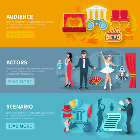 comedy: Theater horizontal banner set with audience actors flat elements isolated vector illustration Illustration