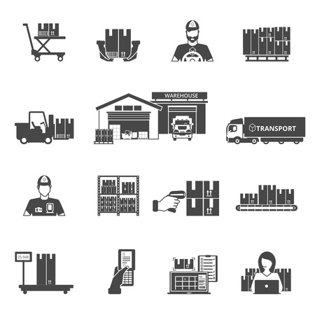 sorting: Storage and logistics black white icons set with transportation and sorting symbols flat isolated vector illustration Illustration