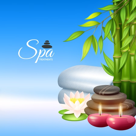 health spa: Spa concept with wellness and health therapy elements vector illustration