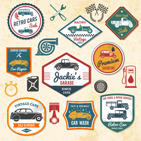 auto repair: Retro and old car repair shops labels set isolated vector illustration