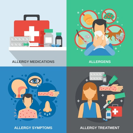 pollen: Allergy design concept set with medications and symptoms isolated vector illustration