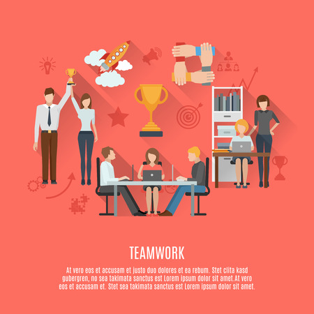 aspects: Successful business teamwork management concept crucial aspects of achieving success  flat icons composition poster abstract vector illustration