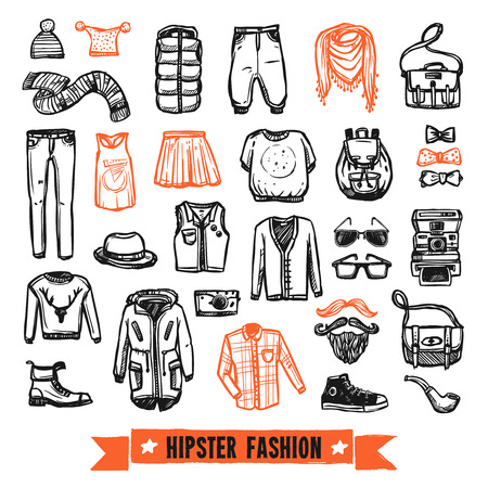 fashion collection: Modern hipster fashion clothing and accessories  black and orange doodle style pictograms collection abstract vector isolated illustration