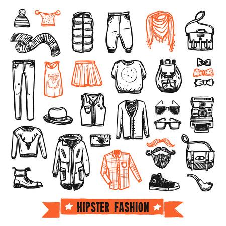 Modern hipster fashion kleding en accessoires zwarte en oranje doodle stijl pictogrammen collectie abstracte vector geïsoleerde illustratie