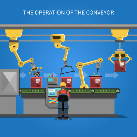 car factory: Robot operation of the conveyor with conveyor belt on blue background flat vector illustration