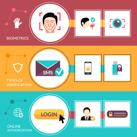verification: Verification horizontal banner set with online authorization elements isolated vector illustration