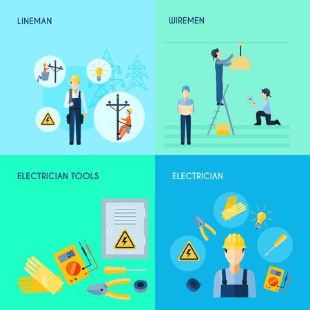 Lineman wiremen elektricien en elektrisch gereedschap 2x2 design set met titels flat vector illustratie
