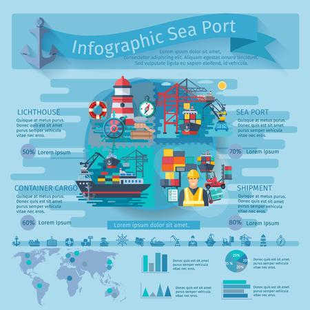 コンテナー船のシンボル入り海ポート インフォ グラフィックとグラフ ベクトル イラスト  イラスト・ベクター素材