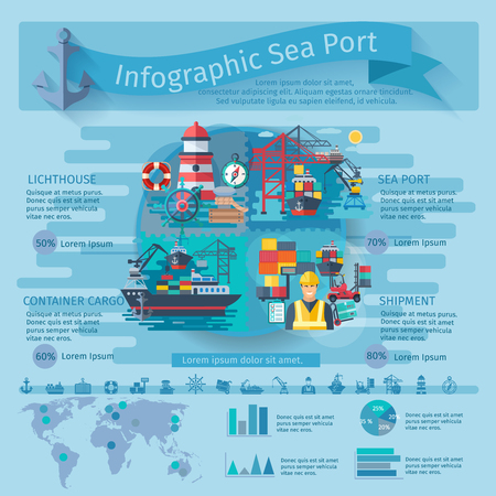 container port: Sea port infographics set with container ships symbols and charts vector illustration