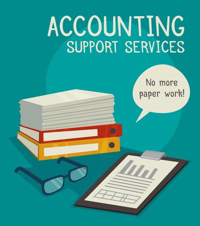 contabilidad: Concepto de negocio establecido para la contabilidad de la publicidad ilustración vectorial servicios de apoyo