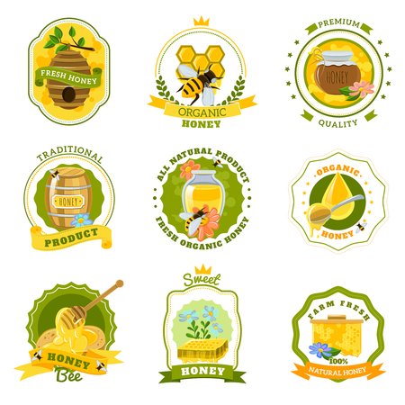Honey emblems set for fresh organic natural premium quality honey flat isolated vector illustration