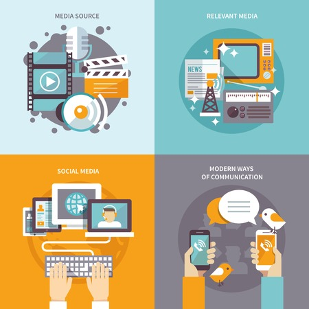 communication icons: Media design concept set with communication sources flat icons isolated vector illustration