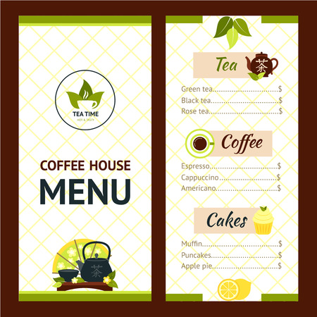 cafe menu: Tea cafe menu design template with drinks and snacks vector illustration