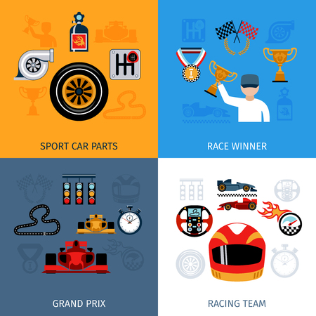 grand prix: Racing design concept set with sport and winner flat icons isolated vector illustration