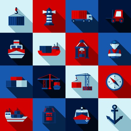 port: Seaport color flat shadows  icons set with cargo ships and port facilities isolated vector illustration
