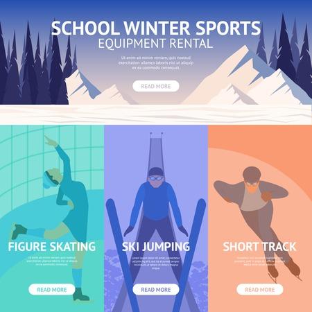 snow track: Winter sport banner set with figure skating ski jumping short track isolated vector illustration Illustration