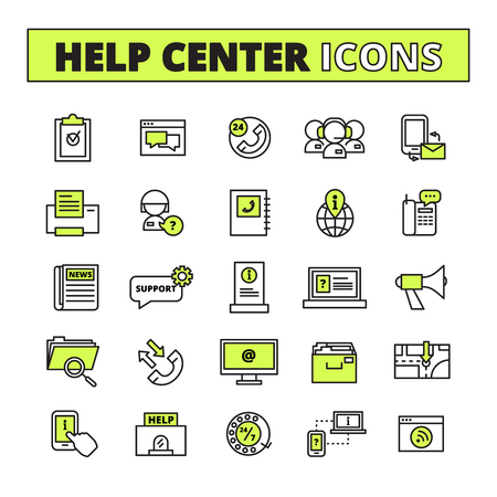 information  isolated: Help call center line icons set with support and information symbols flat isolated vector illustration