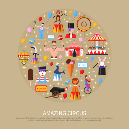 strongest: Amazing circus concept with clown gymnast strongest man and magician flat vector illustration