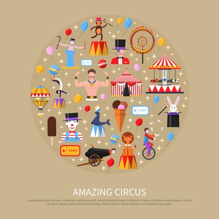 payaso: Concepto de circo impresionante con gimnasta payaso hombre más fuerte y mago ilustración vectorial plana