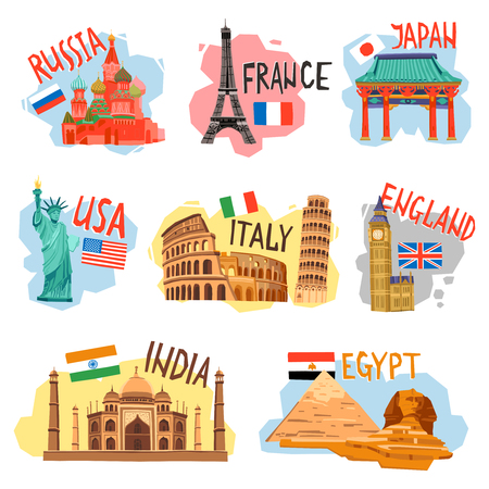 sightseeing: Vacation sightseeing tourism travel agencies flat pictograms collection with popular countries capitals symbols abstract isolated vector illustration