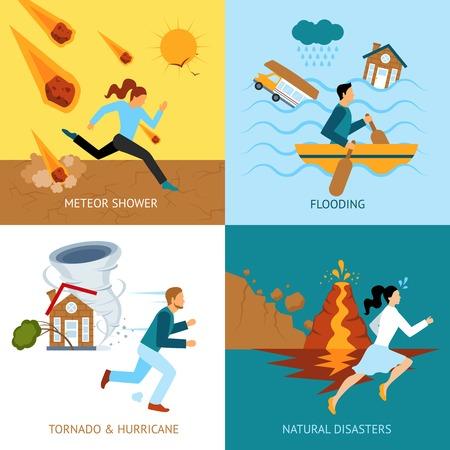 catastroph�: concept naturel de la s�curit� des catastrophes avec des gens �chapper � la tornade et ouragan plat ic�nes isol� illustration vectorielle Illustration