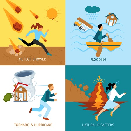 Natural disasters safety design concept with people escape from tornado and hurricane flat icons isolated vector illustration Иллюстрация