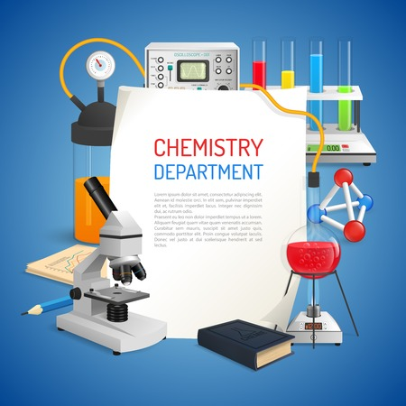 chemistry lab: Science realistic background with chemistry lab equipment set vector illustration