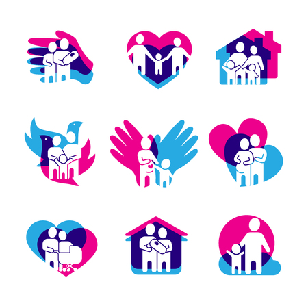 Family Set With Home Love And Peace Symbols Flat Isolated Vector