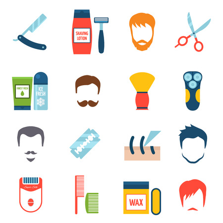 personal hygiene: Color  flat set icons of shave with barber equipment and personal hygiene accessories isolated vector illustration