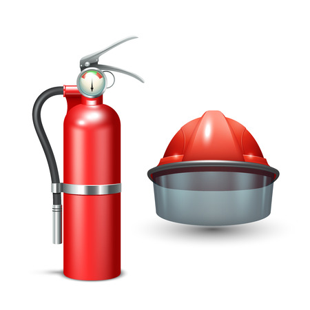 Red realistic firefighter helmet and fire extinguisher isolated vector illustration Vettoriali