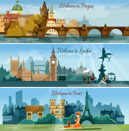 travel destination: International vacation tours advertisement 3 flat banners set poster with european capitals sights abstract isolated vector illustration