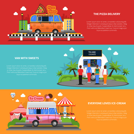 street symbols: Street food horizontal banners set with pizza delivery van with sweets and ice-cream symbols flat isolated vector illustration
