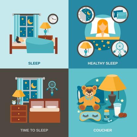 dormir: concepto de diseño de tiempo de espera fijado con la ilustración vectorial iconos dormitorios interiores aislados