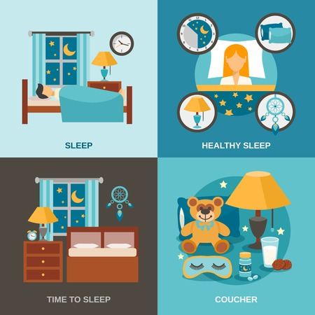 woman sleep: Sleep time design concept set with bedroom interior icons isolated vector illustration Illustration