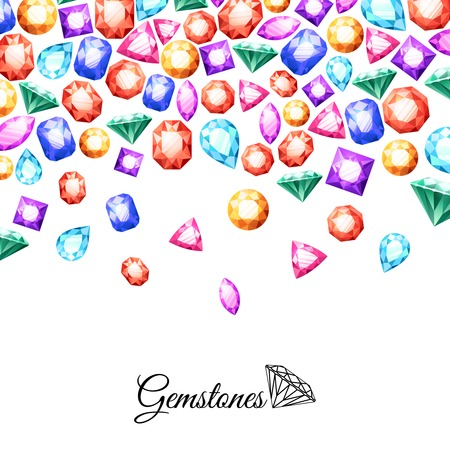 jewelry background: Colorful sparkling gemstones background with luxury crystal jewels vector illustration Illustration