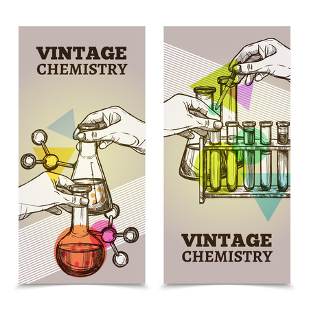 colleges: Chemistry laboratory research test tubes and retorts 2 vintage style vertical banners set abstract isolated vector illustration