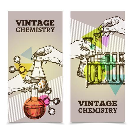 quimica: tubos de ensayo y retortas la investigaci�n de laboratorio Qu�mica 2 estilo banners verticales de la vendimia Resumen ilustraci�n vectorial aislado