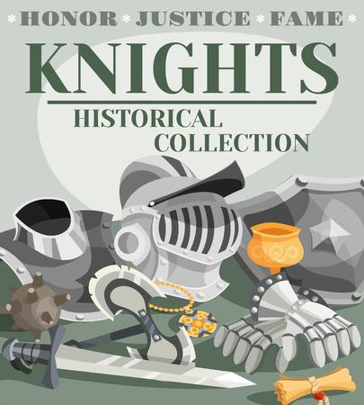 knight armor: Medieval knight armor cartoon poster with metal helmet gloves and sword vector illustration Illustration